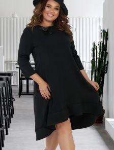 Черное свободное асимметричное платье на рукав 3/4 большого размера