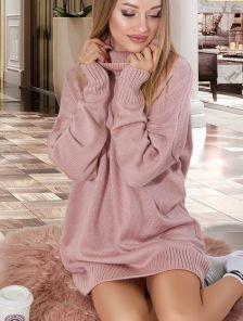 Светлый теплый удлиненный свитер оверсайз с широкой горловиной