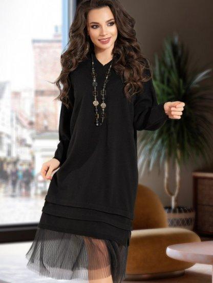 Черное повседневное шерстяное платье свободного кроя, фото 1