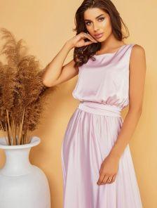 Летнее платье лилового цвета длиною в пол