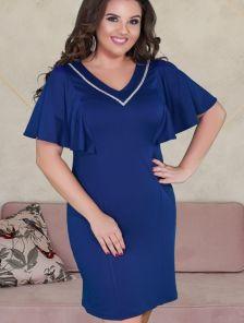 Нарядное короткое синее платье большого размера с рукавами