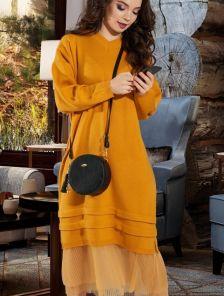 Горчичное повседневное шерстяное платье свободного кроя