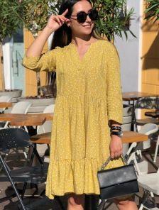 Короткое свободное желтое платье с принтом на длинный рукав