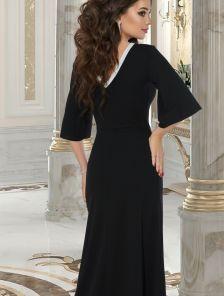 Нарядное черное вечернее платье с серебристой отделкой