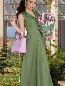 Длинное летнее платье рубашка с карманами цвета хаки
