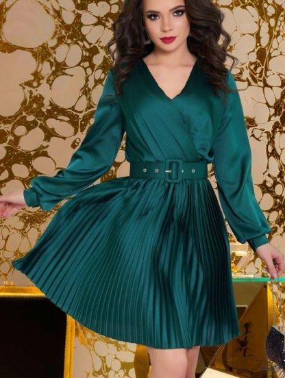 Нарядное короткое шелковое платье изумрудного цвета с юбкой плиссе, фото 1