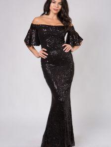 Блестящее длинное черное платье с пайетками и открытыми плечами