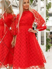 Красное нарядное платье миди с рукавом 3/4 на роспись