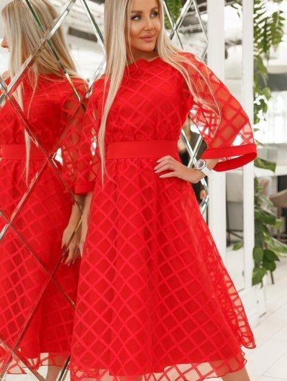 Красное нарядное платье миди с рукавом 3/4 на роспись, фото 1