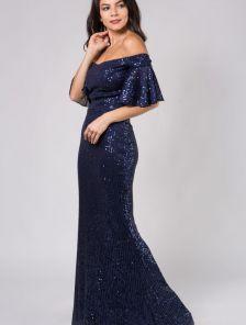 Блестящее длинное синее платье с пайетками и открытыми плечами