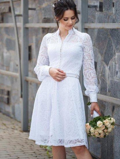 Короткое белое нарядное кружевное платье на длинный рукав, фото 1
