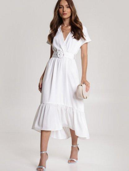 Короткое белое асимметричное платье с оборкой, фото 1