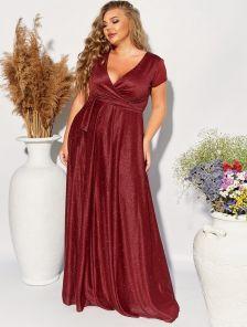 Вечернее мерцающее бордовое платье большого рразмера в пол