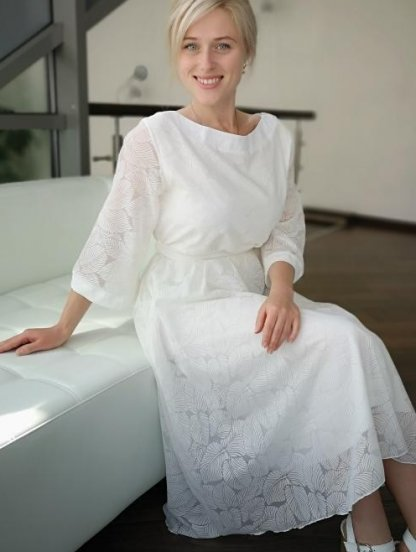 Белое нарядное платье миди с красивіми узорами, фото 1