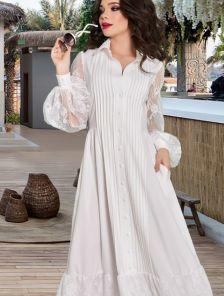 Летнее длинное белое нарядное платье в пол под кеды или кроссовки