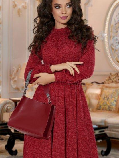 Короткое теплое платье из ангоры на длинный рукав, фото 1