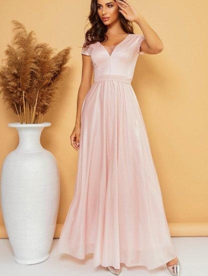 Нарядное вечернее блестящее платье в пол цвета пудры, фото 1