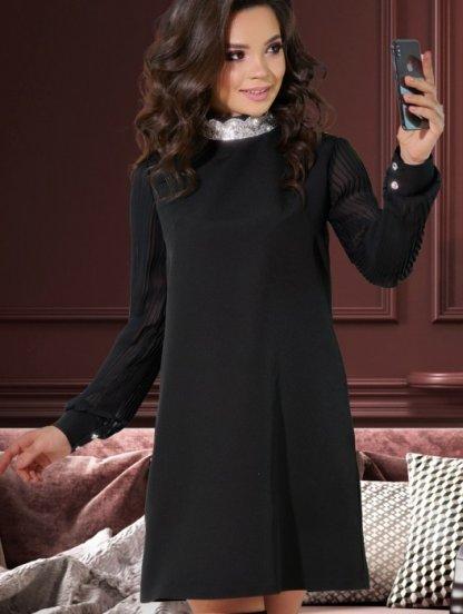 Короткое черное свободное платье, фото 1