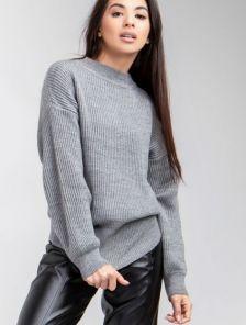 Женский теплый серый джемпер с круглой горловиной