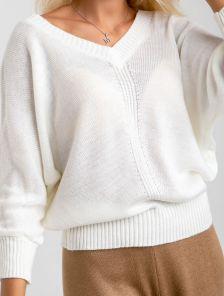 Женский теплый свободный джемпер с рукавом