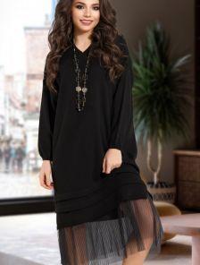 Черное повседневное шерстяное платье свободного кроя