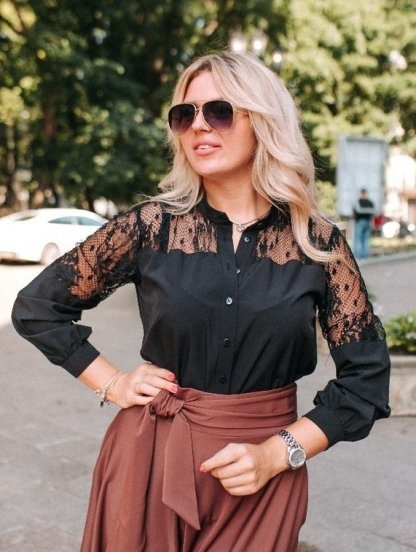 Черная блуза с кружевом большого размера на длинный рукав, фото 1