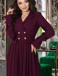 Короткое бордовое платье пиджак с юбкой плиссе на длинный рукав