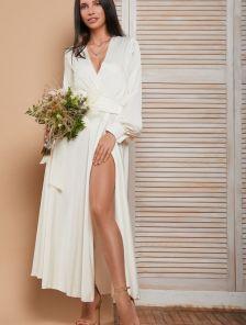 Нарядное белое шифоновое платье с имитацией запаха и двойной юбкой