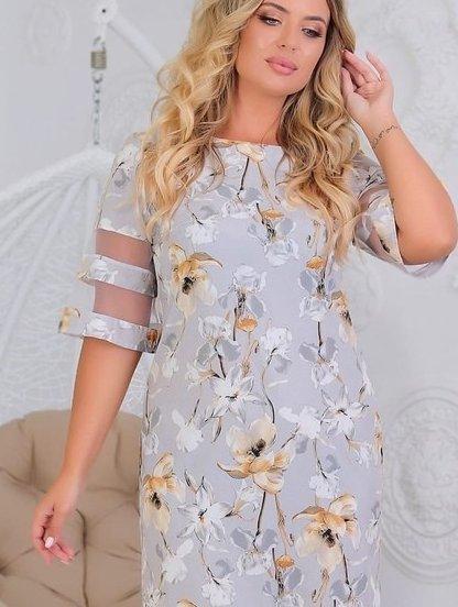 Летнее короткое платье большого размера на рукав 3/4 с цветами, фото 1