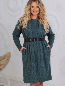 Теплое ангоровое зеленое платье с кардиганом большого размера