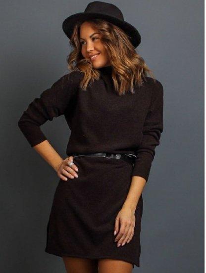Коричневое теплое ангоровое короткое платье под пояс, фото 1