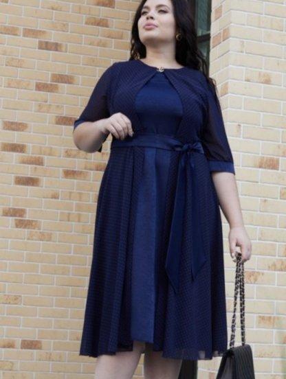 Нарядное светлое платье миди в горошек большого размера, фото 1