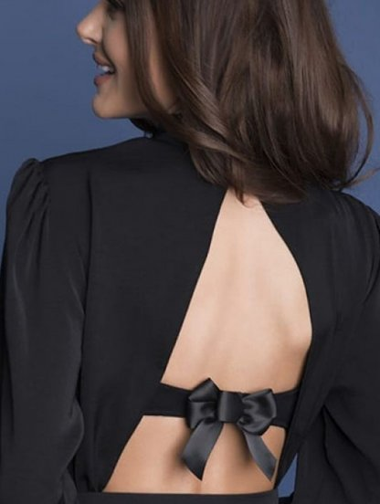 Декоративная жастежка-бантик на бюстгалтер черного цвета, фото 1