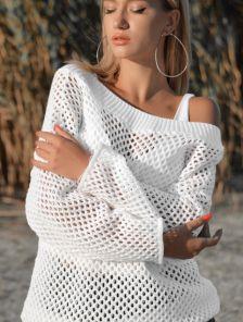 Белый вязанный свитер-сетка