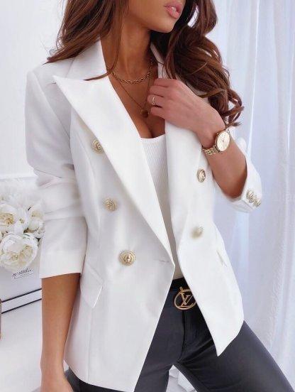 Стильный белый женский укороченный пиджак с пуговицами, фото 1