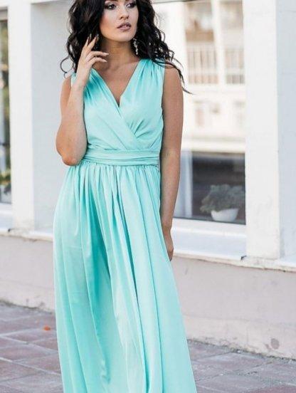 Нарядное шелковое голубое платье с V-образным вырезом, фото 1