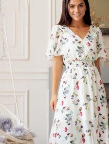 Летнее красивое платье миди с коротким рукавчиком в цветочный принт