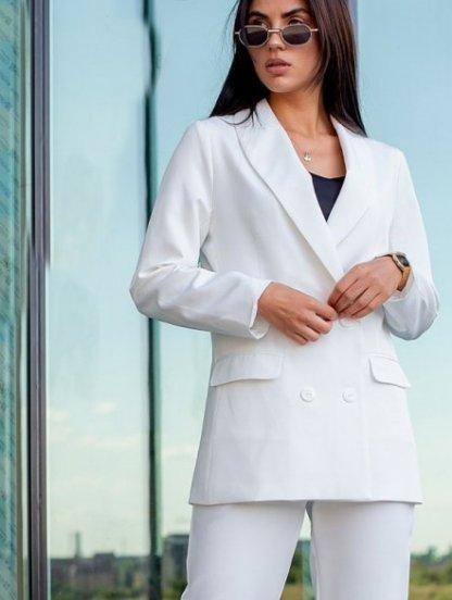 Белый классический женский брючный костюм двойка с пиджаком, фото 1