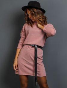 Розовое теплое ангоровое короткое платье под пояс