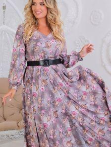 Длинное нарядное платье с цветами большого размера