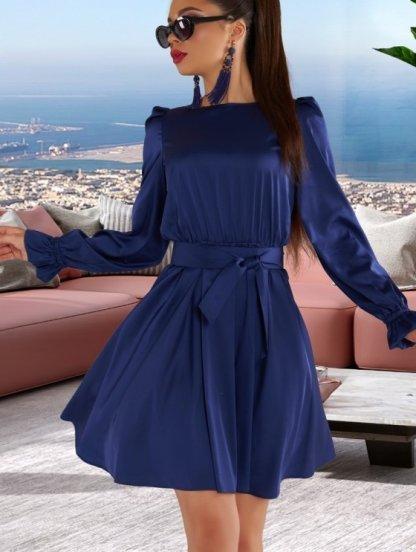 Короткое шелковое синее нарядное платье под пояс, фото 1