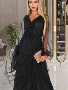 Черное длинное вечернее блестящее платье с прозрачным рукавом