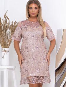 Бежевое нарядное платье с кружевом большого размера