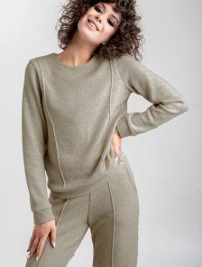 Женский теплый трикотажный костюм с прямыми брюками в оливковом цвете