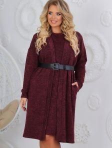 Теплое ангоровое бордовое платье с кардиганом большого размера
