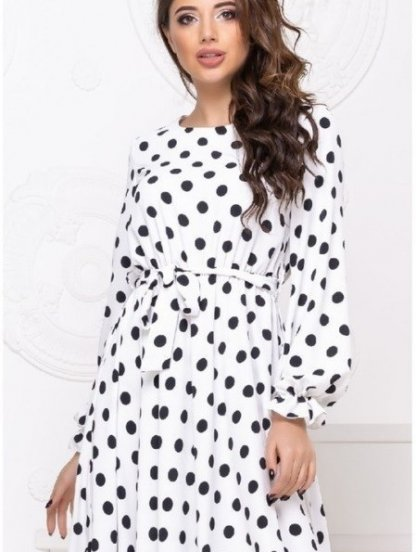 Женское коктейльное белое платье миди в горошек, фото 1