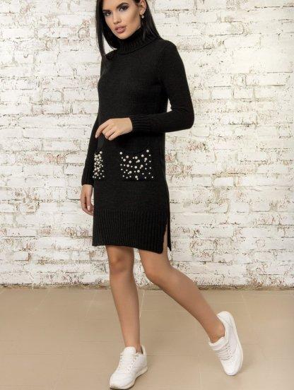 Черное теплое вязаное спортивное платье с бусинками на карманах, фото 1