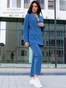 Синий классический женский брючный костюм двойка с пиджаком