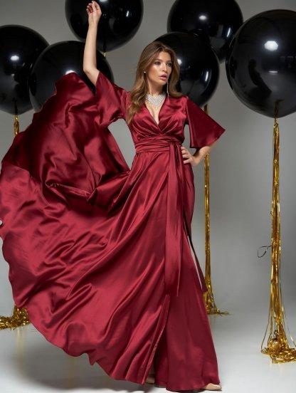 Длинное вечернее шелковое винное платье с коротким рукавом, фото 1