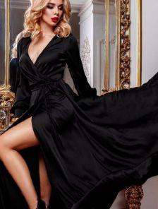 Нарядное длинное черное платье на длинный рукав